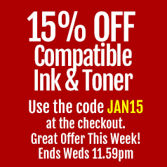 JAN15 for 15% off compatible ink and toner ends Wednesday 11:59pm